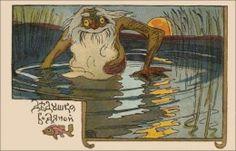 Vintage Russian postcard featuring Vodyanoy (circa 1917, public domain)