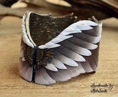 """Купить Браслет """"Крылья"""" (широкий, коричневый, птица, перо) - коричневый, украшения ручной работы"""
