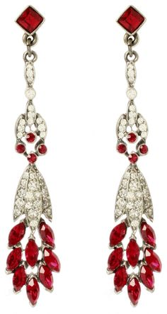 Ben-Amun Ruby Linear Deco Earrings. Via Diamonds in the Library.