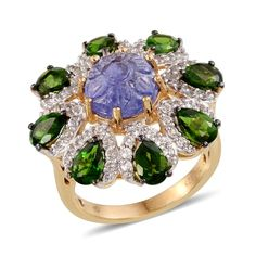 Sunny day SUGAR by Gay Isber Tanzanite (Rnd 4.40 Ct), Russian Diopside, White Topaz Ring in 14K YG Overlay Sterling Silver Nickel Free (Size 6.0) TGW 10.640 cts.