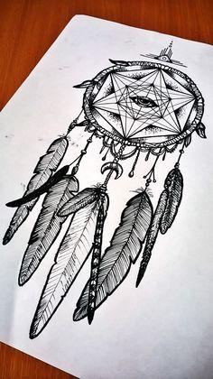 dreamcatcher drawing pen ink black