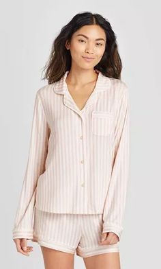 The Slumber Project Womens Long Sleeve Button Down Pajama Set Heather Grey