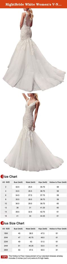 RightBride White Women's V-Neck Wedding Dresses 2017 for Brides Covered Button Applique Mermaid Tulle Bridal Dress (14). RightBride White Women's V-Neck Wedding Dresses 2017 for Brides Covered Button Applique Mermaid Tulle Bridal Dress (14) RightBride, Just as the store name indicates, is always dedicated to be the Right online shop on Amazon for wedding dresses for bride, So quality is our first priority. 1.With high quality fabrics, beads, pearls, crystals and threads, RightBride are...