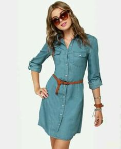 Cute Denim Dress - Shirt Dress - Chambray Dress from Lulu*s. Saved to Fall Fashion. Denim Fashion, Look Fashion, Fashion Outfits, Fall Fashion, Dress Fashion, Street Fashion, Fashion Trends, Frock Design, Denim Shirt Dress