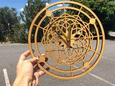 Handmade pattern and laser cut wooden clock insta @cactuscutsclocks