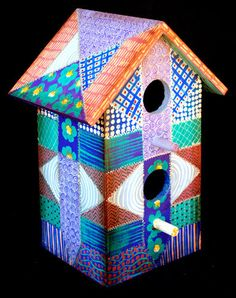 Collectible Crazy Quilt Birdhouse of Blues by KrugsStudio on Etsy, $69.99