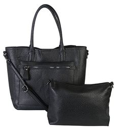 Diophy Faux PU Leather Bag in Bag Tote Women's Purse Handbag ZD-2499 Black - http://leather-handbags-shop.com/diophy-faux-pu-leather-bag-in-bag-tote-womens-purse-handbag-zd-2499-black/