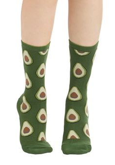 Good to Avocado Socks. Get in on the culinary craze by whipping up a batch of guacamole while wearing these appropriately printed socks! #green #modcloth