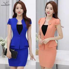 7b92c6462c 2016 estilos Das Mulheres saia ternos de Negócios formal do escritório das  senhoras elegantes de manga