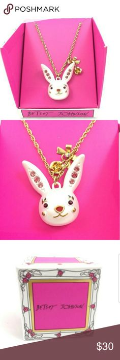 "Betsey Johnson Bunny Rabbit Necklace This Item Is Brand New With Tags And Never Worn   Easter is just around the corner 🐰  Bring Peter Cotton Tail Along 😙 Super Cute Betsey Johnson Bunny Rabbit Necklace With Accent Bow and Cabbage Charm 🎀🌸 Bow has clear rhinestone accent 💎 Ears are studded with 3 pink rhinestones each 🐇 Measures @ 1 3/4"" tall , 1 1/2"" wide  Be Sure To Check Out The Rest of My Listings For Additional Betsey Johnson Accessories including bags backpacks bracelets and…"