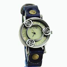 v evropském stylu retro módy duté tři růže kůže hodinky – USD $ 9.99