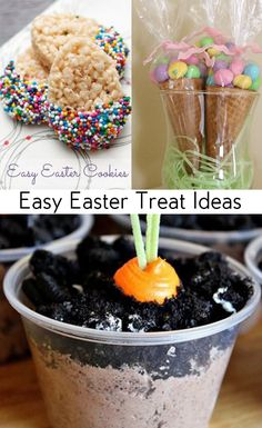 Easy Easter Treat Ideas. Cute ideas for Easter treats and snacks for Easter parties or school.