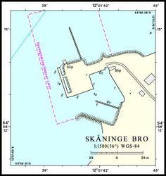 Kort & Matrikelstyrelsens oplysninger i Den danske Havnelods om Skåningebro, som er den autoriserede stednavnebetegnelse. Landingsstedet blev indrettet i 1873.