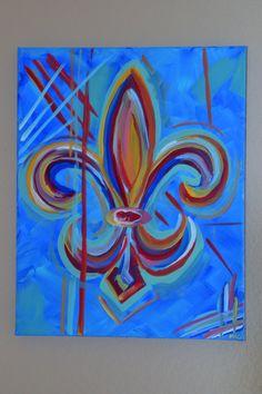 11x14 Fleur de Lis Painting by SugarbritchesArt on Etsy
