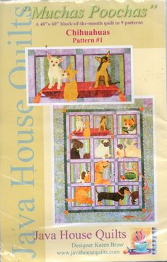 Moochas Poochas Chihuahuas Pattern #1 by Karen Brow Java House Quilts by NASGalleria on Etsy