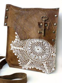 Gypsy Boho Leather Messenger with Crochet Doily & Antique Key