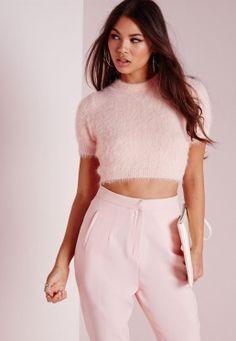 Fluffy Short Sleeve Crop Sweater Blue | el traje | Pinterest ...