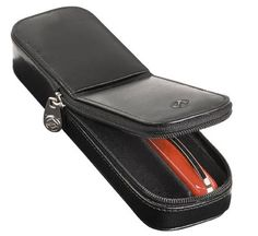 Visconti 2-pen leather zip case