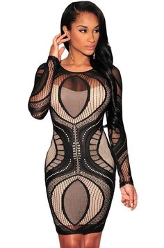 f0048a14a3b Black Plus Lace Nude Illusion Long Sleeves Bodycon Dress