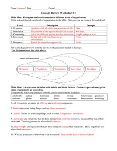 Six Levels of Ecology | Ecology Review Worksheet 1 answers