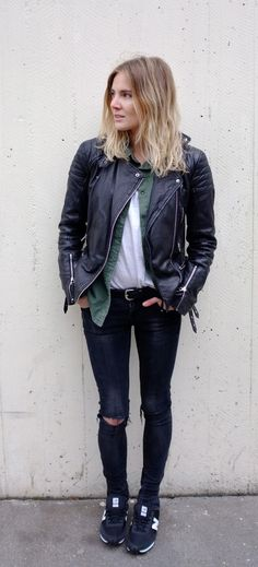 ripped jeans, black leather jacket