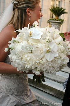 This could be the largest bridal bouquet we have ever designed! Lush and abundant white peony,sweet pea,phalaenopsis and cymbidium orchids! A show stopper! (This bouquet is big but wow is it beautiful) All White Wedding, White Wedding Bouquets, Bride Bouquets, Floral Wedding, White Bridal, White Peonies, White Flowers, Beautiful Flowers, Cymbidium Orchids
