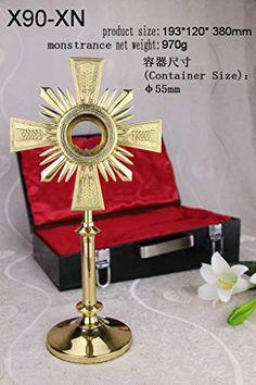 Brass Monstrance with Luna and Suitcase for Catholic Church Altar Our company have 15 kinds of monstrance with case for your choice Grand Cross, Container Size, Altar, Catholic, Suitcase, Display Stands, Brass, Lights, Outdoor