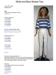 Barbie Knitting Patterns, Knitted Doll Patterns, Knitting Dolls Clothes, Knitted Dolls, Crochet Dolls, Barbie Clothes Patterns, Crochet Barbie Clothes, Doll Clothes Barbie, Clothing Patterns