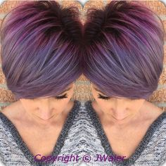 Perfect purple hair color and crop cut by Jamie Waier pixie cut #hotonbeauty Facebook.