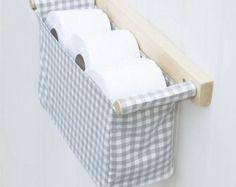 Wall hanging toilet organizer - toilet papaer holder with a fabric bin, IKEA Berta Ruta in grey