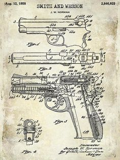 1958 Smith And Wesson Firearm Patent Drawing Wood Print by Jon Neidert. All wood prints are professionally printed, packaged, and shipped within 3 - 4 business days and delivered ready-to-hang on your wall. Choose from multiple sizes and mounting options. Smith N Wesson, Patent Drawing, Patent Prints, Chalkboard Art, Firearms, Handgun, Wood Print, Just In Case, Guns