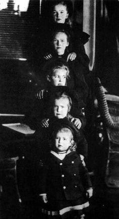 The Romanov children, 1901-1906:  Otma. Alexei. Olga. Tatiana. Marie. Anastasia. Standart.