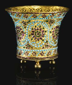 A Qajar turquoise and gem-set gold ghalian cup, Persia, 19th century