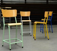It's been a while since we sat in a classroom, but we'd happily go back to school if we could sit in one of Zangra's cheery, colorful school chairs, made in Belgium.