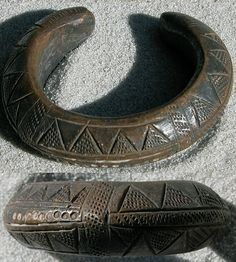 Africa | antique copper alloy bracelet from Nigeria that was used as currency.