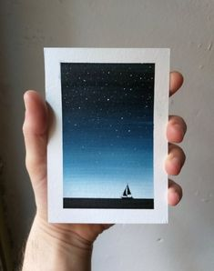 Small original watercolour painting - Sailing boat on the sea below the stars, ocean art, nautical wall decor Small Canvas Paintings, Easy Canvas Art, Small Canvas Art, Acrylic Painting Canvas, Mini Canvas Art, Oil Pastel Paintings, Simple Acrylic Paintings, Easy Paintings, Painting Art