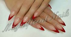 Trendy nails stiletto red nailart ideas The Effective Pictures We Offer You About nail colors ac French Stiletto Nails, Acrylic Nails Stiletto, Pointy Nails, French Tip Nails, Red Nails, Nail Tip Designs, Acrylic Nail Designs, Real Long Nails, Silver Acrylic Nails