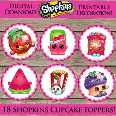 18 Printable Shopkins Cupcake Toppers Digital by ClipArt911