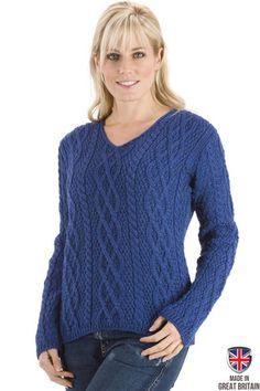 The Yorkshire - Old Blue Womens Aran Jumper Wool Sweater   Sweateronline - Fine British Knitwear - Made in Great Britain