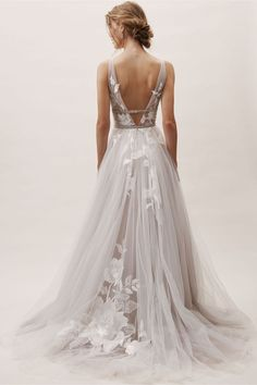 Wedding Gown bhldn spring 2019 bridal sleeveless thick straps v neckline embellished bodice a line ball gown wedding dress sweep train silver color low vback romantic bv -- BHLDN's New Spring 2019 Wedding Dresses Wedding Dress Backs, Used Wedding Dresses, Bridal Dresses, Girls Dresses, Bridesmaid Dresses, Romantic Wedding Dresses, Dresses Dresses, Modest Wedding, Silver Wedding Dresses