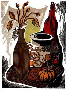 Still life with Red Bottle and Pumpkin, is a color linocut.