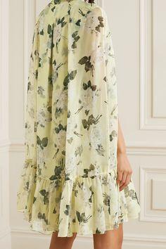 Floral Motif, Floral Prints, Pastel Yellow, Erdem, Floral Chiffon, Models, Dress Outfits, Dresses, Mini