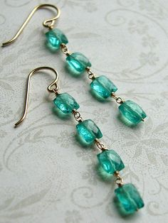 Apatite and goldfill linear earrings