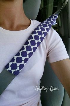 Seat Belt Strap Cover REVERSIBLE Padded, Purple Merletto, Cooler and Bag strap…