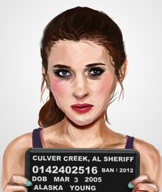 Mugshots of Characters from Banned Books: Alaska Young, Looking for Alaska. Love it!