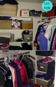 BEFORE: A Cramped Master Closet