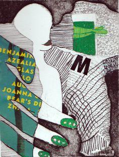 Grøn M 20x15 Collografi, collage, tusch