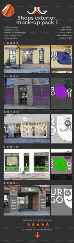 Shops Exterior MockUps 2 pack — Photoshop PSD #mock-up #psd • Available here → https://graphicriver.net/item/shops-exterior-mockups-2-pack/2126098?ref=pxcr