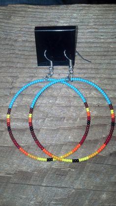 Native American Style Beaded Hoop Earrings by tredens82 on Etsy
