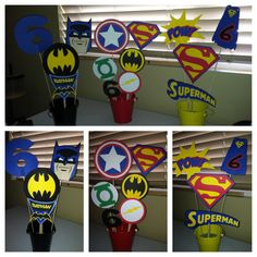 Superhero Party Centerpieces!   https://www.facebook.com/pages/Brookes-Crazy-Monkey-Creations/588025634548428?ref=bookmarks